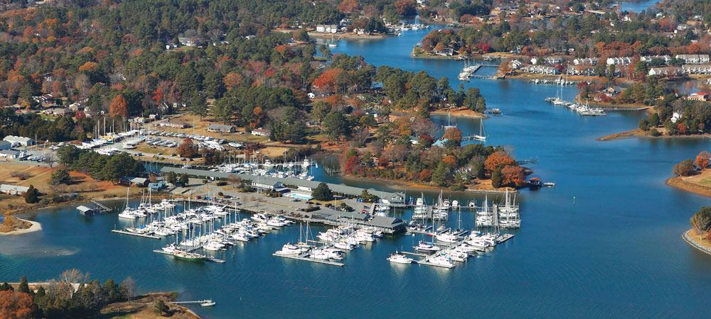 Aerial image of yachts in a bay