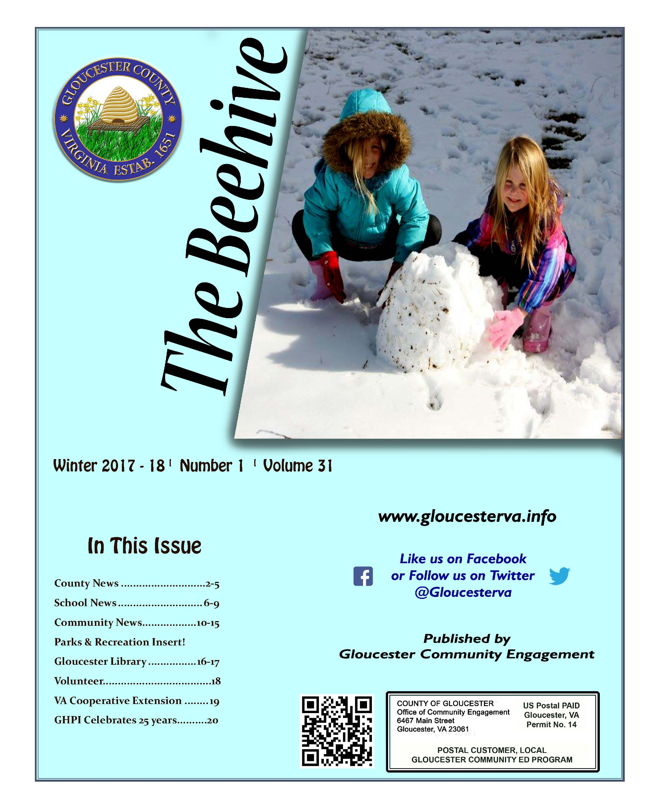 Beehive Winter 2017 cover of kids playing in the snow