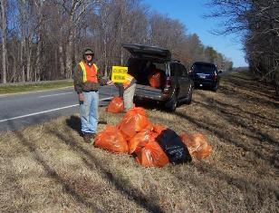 Picking Up Trash on Road