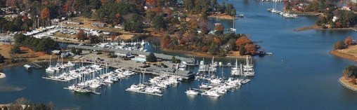 Aerial photo of a creek and boats in Gloucester County