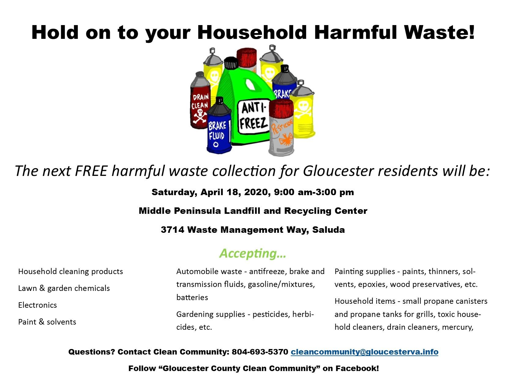 Household Harmful Waste Collection flyer April 2020