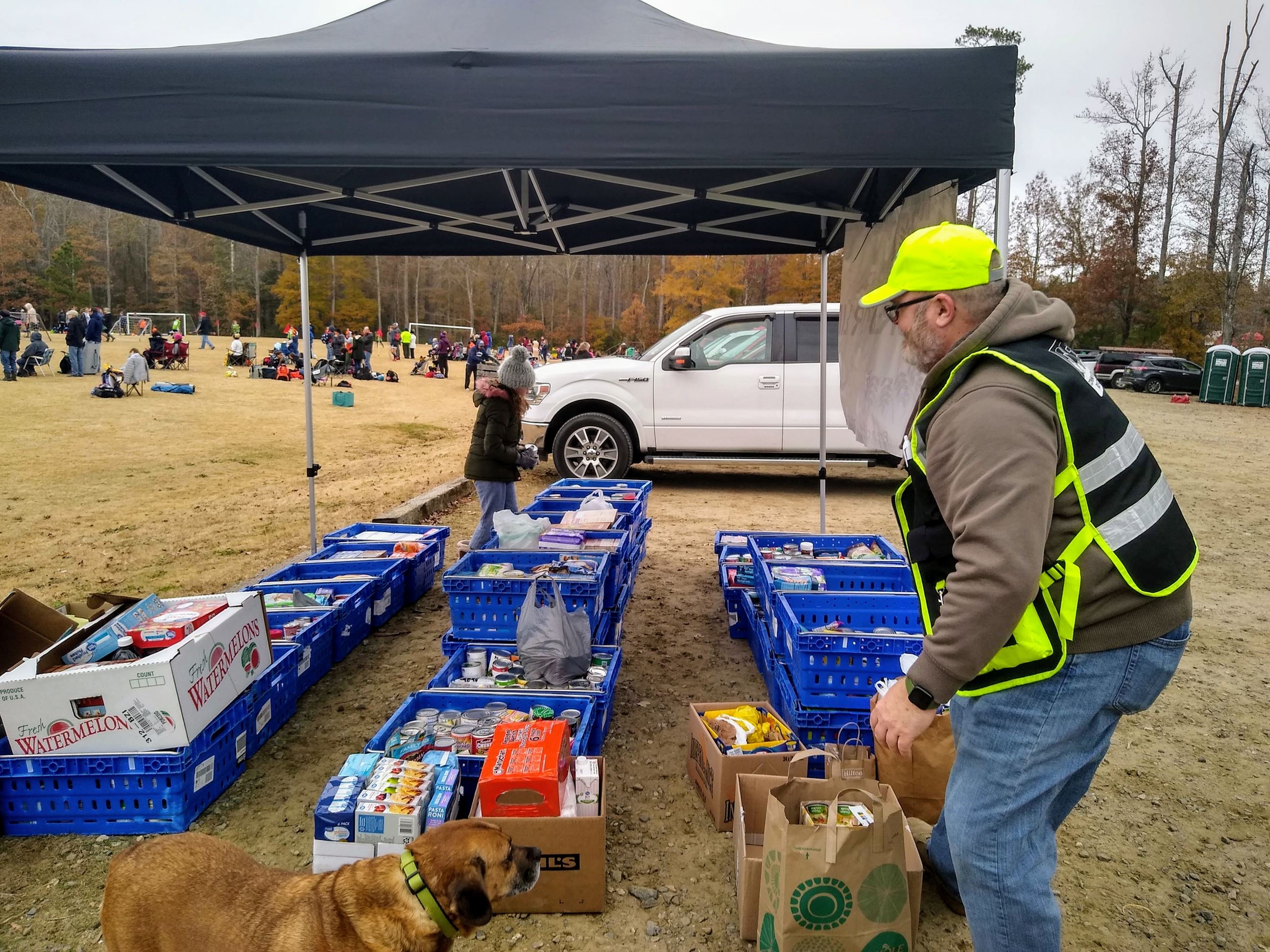 CERT members collecting canned food for Bird Bash food drive.